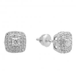 0.50 Carat (ctw) 18K White Gold Round Cut White Diamond Ladies Halo Style Stud Earrings 1/2 CT