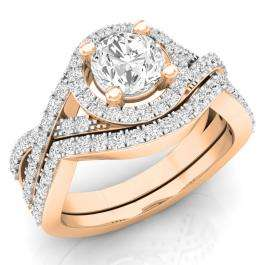 1.50 Carat (ctw) 14K Rose Gold Round Cut White Cubic Zircona Ladies Bridal Swirl Split Shank Halo Engagement Ring With Matching Band Set