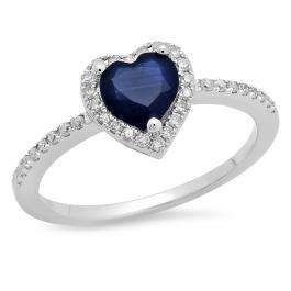 1.10 Carat (ctw) 10K White Gold Heart Cut Blue Sapphire & Round Cut White Diamond Ladies Heart Shaped Bridal Engagement Ring 1 CT