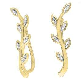 0.10 Carat (ctw) 14K Yellow Gold Round Cut White Diamond Ladies leaf shaped Climber Earrings 1/10 CT