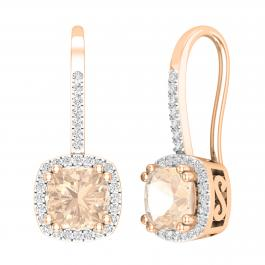 2.25 Carat (ctw) 10K Rose Gold Cushion Cut Morganite & Round White Diamond Ladies Dangling Drop Earrings 2 1/4 CT