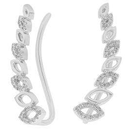 0.12 Carat (ctw) 10K White Gold Round Cut White Diamond Ladies leaf shaped Climber Earrings