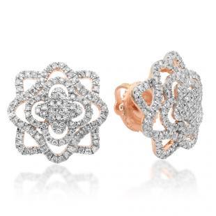 0.40 Carat (ctw) 14K Rose Gold Round Cut White Diamond Ladies Cluster Flower Micro Pave Stud Earrings