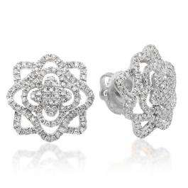 0.40 Carat (ctw) 14K White Gold Round Cut White Diamond Ladies Cluster Flower Micro Pave Stud Earrings