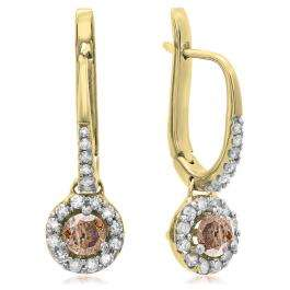 0.42 Carat (ctw) 14K Yellow Gold Round Champagne & White Diamond Ladies Halo Style Dangling Drop Earrings