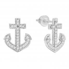 0.32 Carat (ctw) 14K White Gold Round Cut White Diamond Ladies Anchor Stud Earrings 1/3 CT