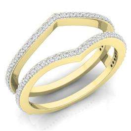 0.40 Carat (ctw) 18K Yellow Gold Round Diamond Ladies Anniversary Wedding Band Enhancer Guard Double Ring