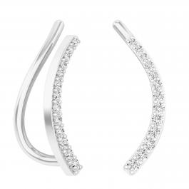 0.15 Carat (ctw) Sterling Silver Round Cut White Diamond Ladies Crawler Climber Earrings