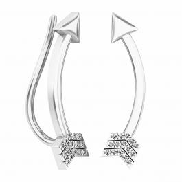 0.06 Carat (ctw) Sterling Silver Round Cut White Diamond Ladies Arrow shaped Climber Earrings