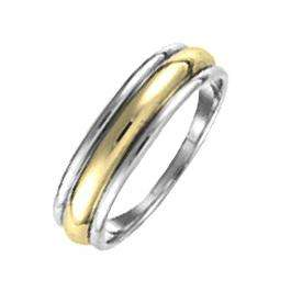 14k Yellow & White Two Tone Gold Mens Domed Grooved Wedding Band 5 Mm Traditonal Fit Ring