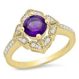 1.10 Carat (ctw) 18K Yellow Gold Round Amethyst And White Diamond Ladies Halo Style Vintage Bridal Engagement Ring 1 CT