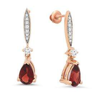 2.30 Carat (ctw) 18K Rose Gold Pear Cut Garnet & Round Cut White Diamond Ladies Dangling Drop Earrings