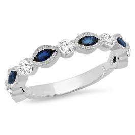 1.05 Carat (ctw) 18K White Gold Marquise Blue Sapphire And Round White Diamond Ladies Vintage Style Anniversary Wedding Band 1 CT