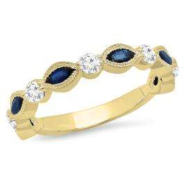 1.05 Carat (ctw) 18K Yellow Gold Marquise Blue Sapphire And Round White Diamond Ladies Vintage Style Anniversary Wedding Band 1 CT