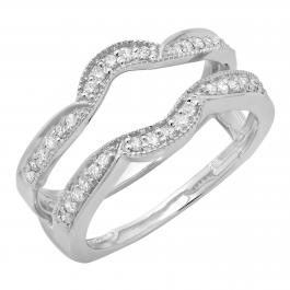 0.34 Carat (ctw) 14K White Gold Round Diamond Ladies Anniversary Wedding Band Enhancer Double Guard Ring 1/3 CT