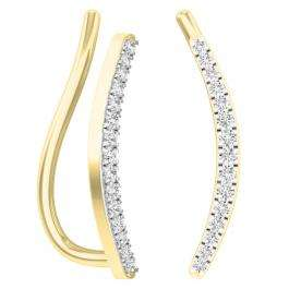 0.10 Carat (Ctw) 14K Yellow Gold Round Cut White Diamond Ladies Crawler Climber Earrings 1/10 CT