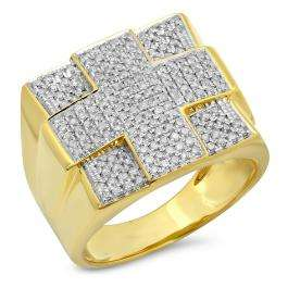 1.08 Carat (ctw) Sterling Silver Round Cut White Diamond Men's Flashy Micro Pave Hip Hop Ring 1 CT