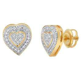 0.16 Carat (ctw) 14K Yellow Gold Round Cut White Diamond Ladies Micro Pave Heart Shape Stud Earrings