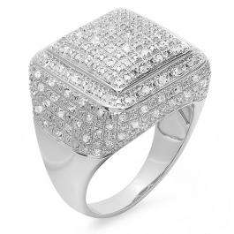 0.52 Carat (ctw) Platinum Plated Sterling Silver Fancy Design Round Diamond Men's Flashy Hip Hop Iced Pinky Ring 1/2 CT