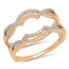 0.35 Carat (ctw) 14K Rose Gold Round Diamond Ladies Anniversary Wedding Band Enhancer Guard Double Ring 1/3 CT