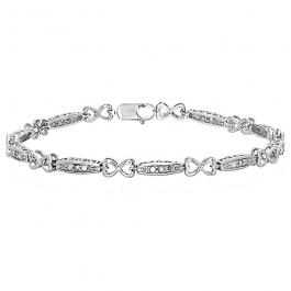 0.12 Carat (ctw) Sterling Silver Round White Diamond Ladies Infinity Heart Love Bracelet