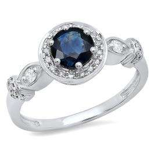 1.30 Carat (ctw) 14K White Gold Round Cut Blue Sapphire & White Diamond Ladies Bridal Halo Style Engagement Ring