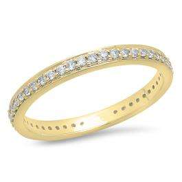 0.70 Carat (ctw) 14K Yellow Gold Round White Cubic Zirconia Ladies Eternity Anniversary Stackable Ring Wedding Band 3/4 CT