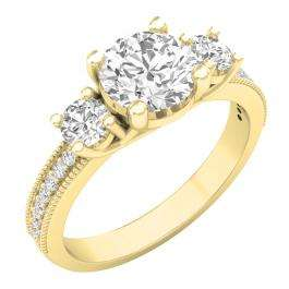3.15 Carat (ctw) 14K Yellow Gold Round Cut White Cubic Zirconia Ladies Bridal 3 Stone Engagement Ring