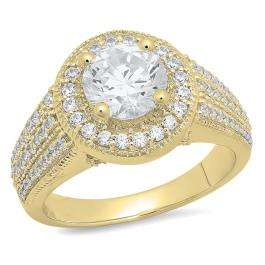 3.40 Carat (ctw) 14K Yellow Gold Round Cut White Cubic Zirconia Ladies Bridal Halo Vintage Style Engagement Ring