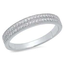 0.45 Carat (ctw) 18K White Gold Round White Cubic Zirconia Ladies Double Row Anniversary Wedding Band 1/2 CT