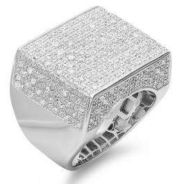0.77 Carat (ctw) Platinum Plated Sterling Silver Fancy Design Round Diamond Men's Flashy Hip Hop Iced Pinky Ring 3/4 CT