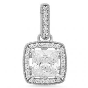 4.95 Carat (ctw) 10K White Gold Princess & Round White Cubic Zirconia Ladies Halo Style Drop Pendant