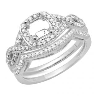 0.40 Carat (ctw) 14K White Gold Round White Diamond Ladies Swirl Semi-Mount Engagement Ring With Matching Band Set (No Center Stone)