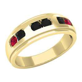 0.75 Carat (ctw) 10K Yellow Gold Round Cut Ruby & Black Diamond Men's Channel Set Wedding Band 3/4 CT