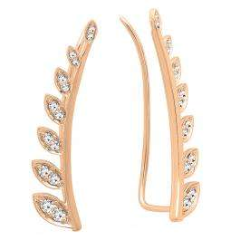 0.50 Carat (ctw) 18K Rose Gold Round White Diamond Ladies Leaf Shaped Climber Earrings 1/2 CT