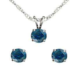 0.50 Carat (ctw) 14K White Gold Round Blue Diamond Ladies Stud Earring & Pendant Set 1/2 CT