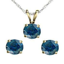 1.50 Carat (ctw) 14K Yellow Gold Round Blue Diamond Ladies Stud Earring & Pendant Set 1 1/2 CT