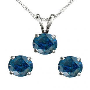 1.50 Carat (ctw) 10K White Gold Round Blue Diamond Ladies Stud Earring & Pendant Set 1 1/2 CT