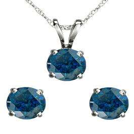 2.00 Carat (ctw) 18K White Gold Round Blue Diamond Ladies Stud Earring & Pendant Set 2 CT