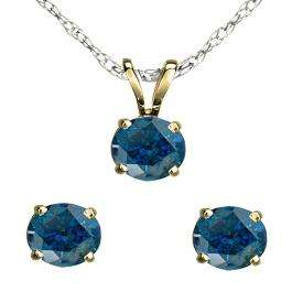 1.00 Carat (ctw) 18K Yellow Gold Round Blue Diamond Ladies Stud Earring & Solitaire Pendant Set 1 CT