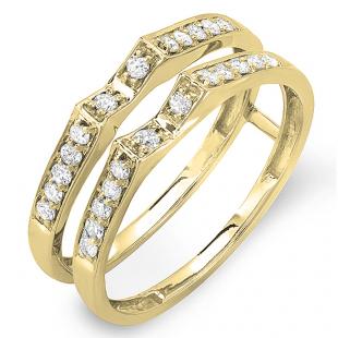 0.32 Carat (ctw) 14K Yellow Gold Round Diamond Ladies Bridal Wedding Band Double Guard Ring 1/3 CT