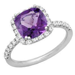 10K White Gold 7.5 MM Cushion Amethyst & Round White Diamond Ladies Bridal Halo Engagement Ring