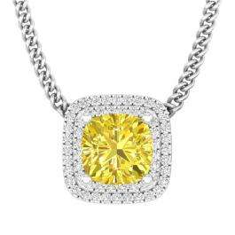 3.25 Carat (ctw) 14K White Gold Cushion Cut Yellow Sapphire & Round White Diamond Ladies Pendant
