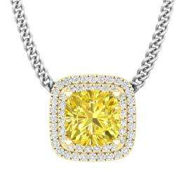 3.25 Carat (ctw) 18K Yellow Gold Cushion Cut Yellow Sapphire & Round White Diamond Ladies Pendant