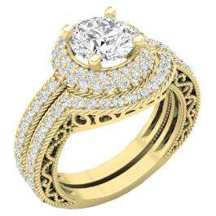 4.40 CT 10K Yellow Gold Halo Round Cubic Zirconia CZ Wedding Bridal Engagement Ring Set