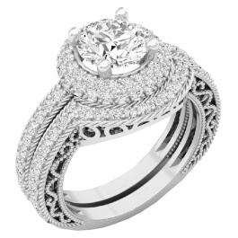 4.40 CT 14K White Gold Halo Round Cubic Zirconia CZ Wedding Bridal Engagement Ring Set
