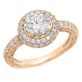 2.25 Carat (ctw) 10K Rose Gold Round Cut White Cubic Zirconia CZ Halo Style Bridal Engagement Ring