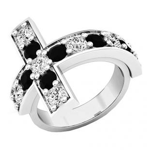 4.20 Carat (ctw) Sterling Silver Round Black & White Cubic Zirconia Ladies Cross Fashion Ring