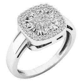 0.60 Carat (ctw) 10K White Gold Round & Taper Cut White Diamond Ladies Cluster Right Hand Ring