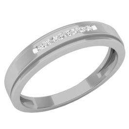 0.07 Carat (ctw) 10K White Gold Round White Diamond Men's Anniversary Wedding Band